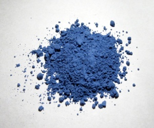 Natural ultramarine pigment. It makes things blue.